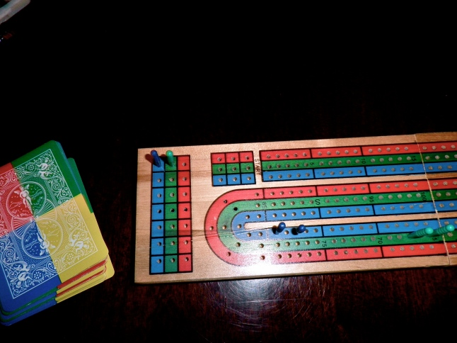 Cribbage :) I got those crazy cards for Caleb for Christmas!